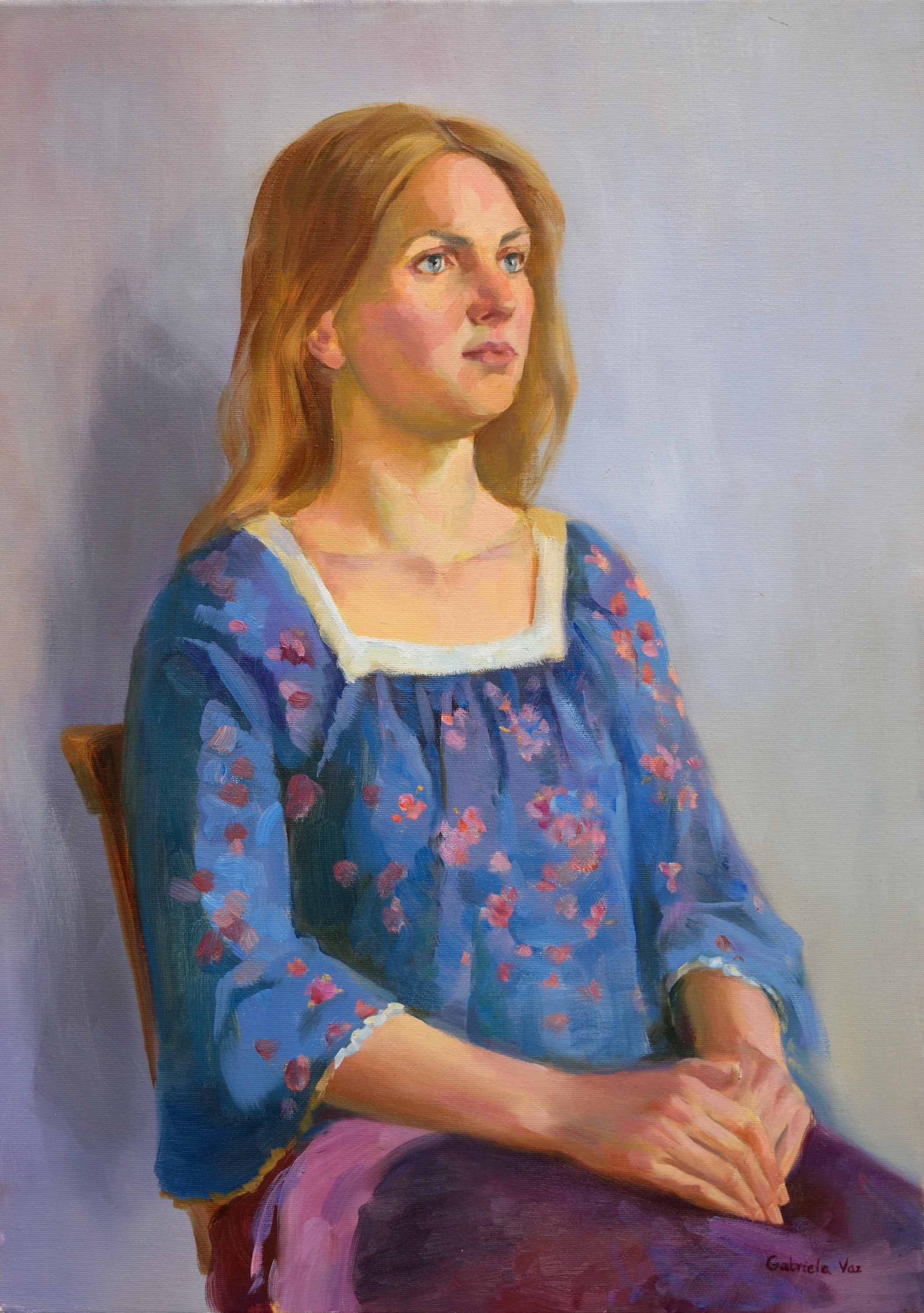 The girl with the flower blouse, oil on canvas, 70 x 50 cm, 2018