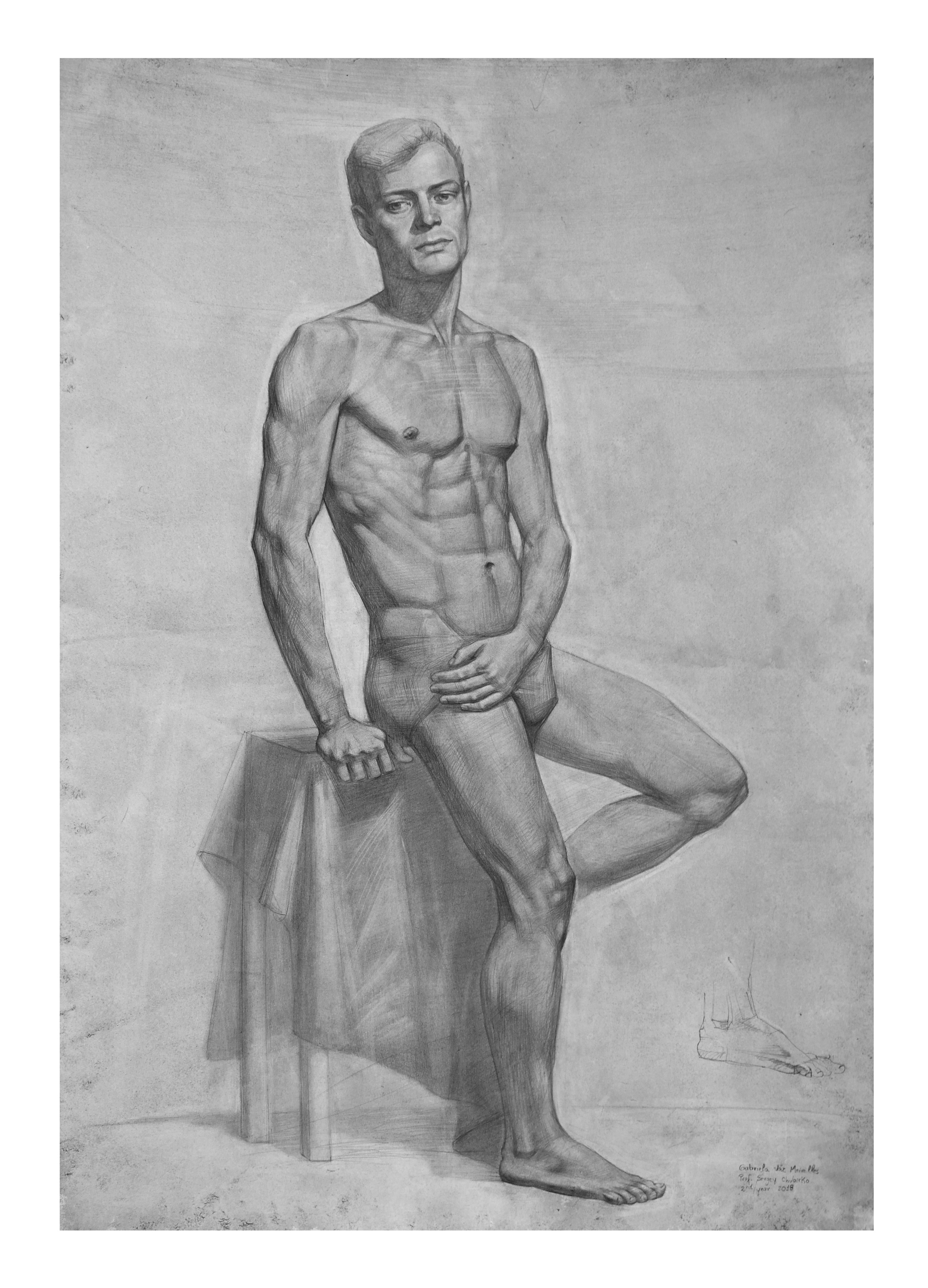 Male figure, graphite on toned paper, 70 x 50 cm, 2018