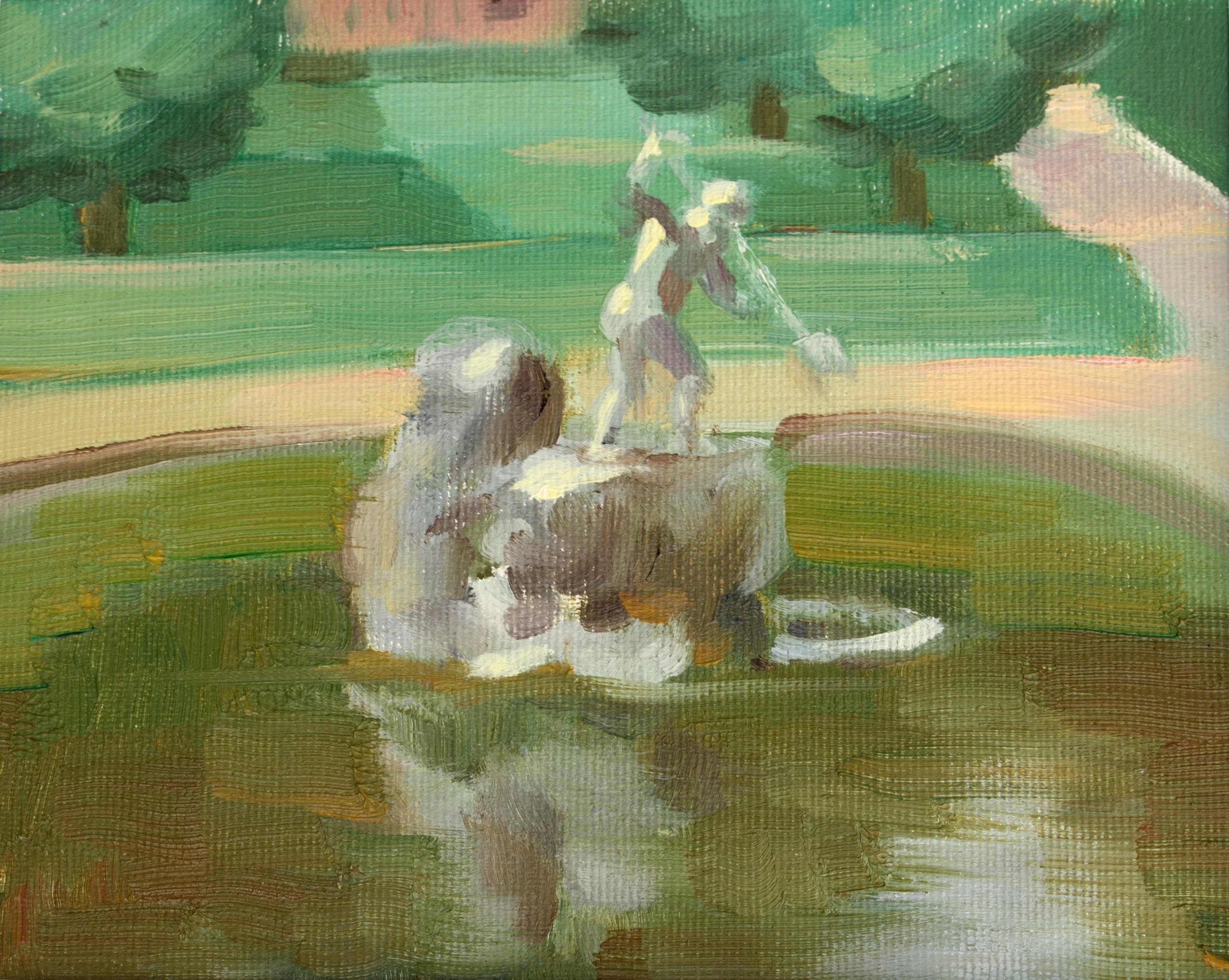 Fontana del Nettuno, oil on canvas, 15 x 20 cm, 2018