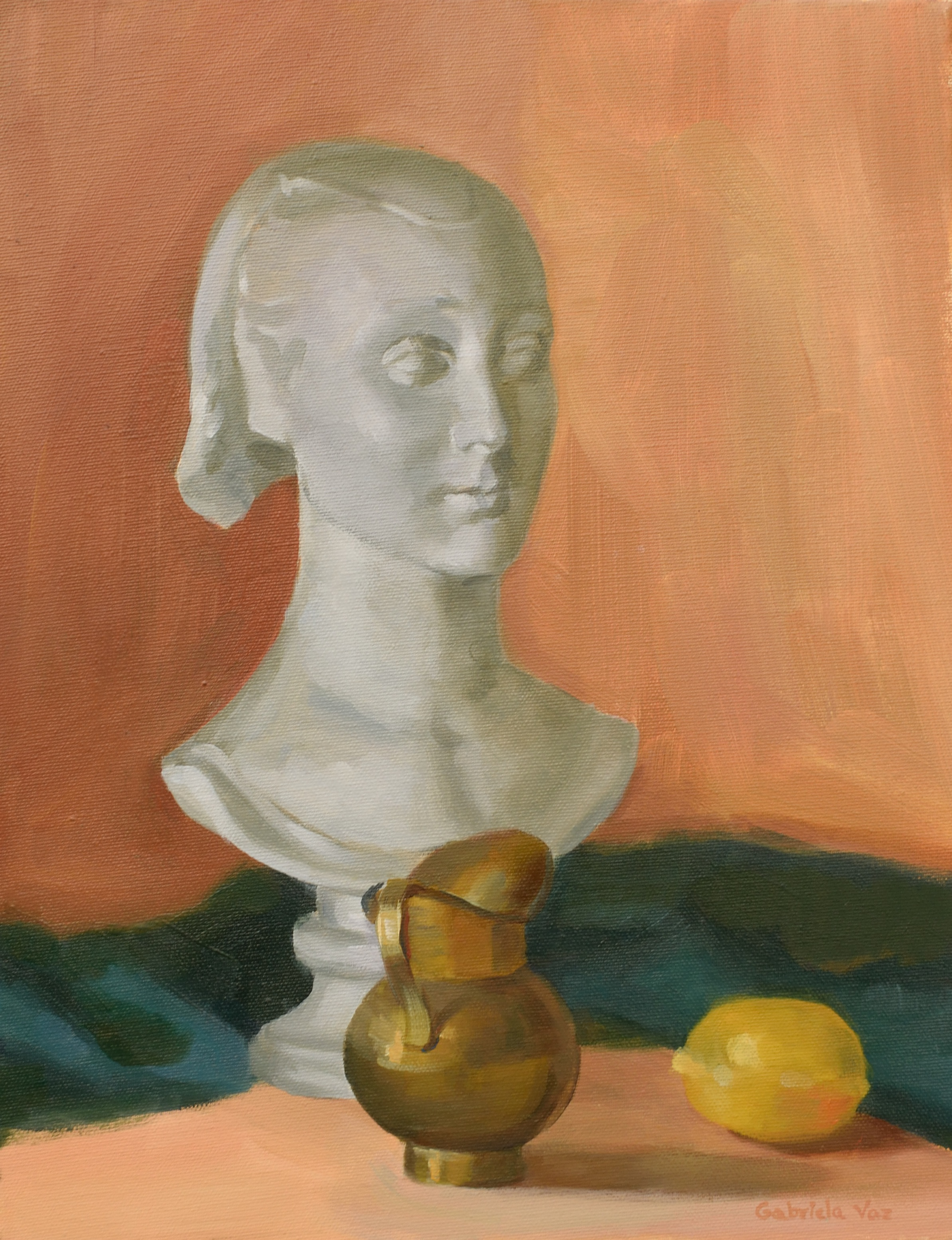 Cast, jug and lemon, oil on canvas, 40 x 30 cm, 2017