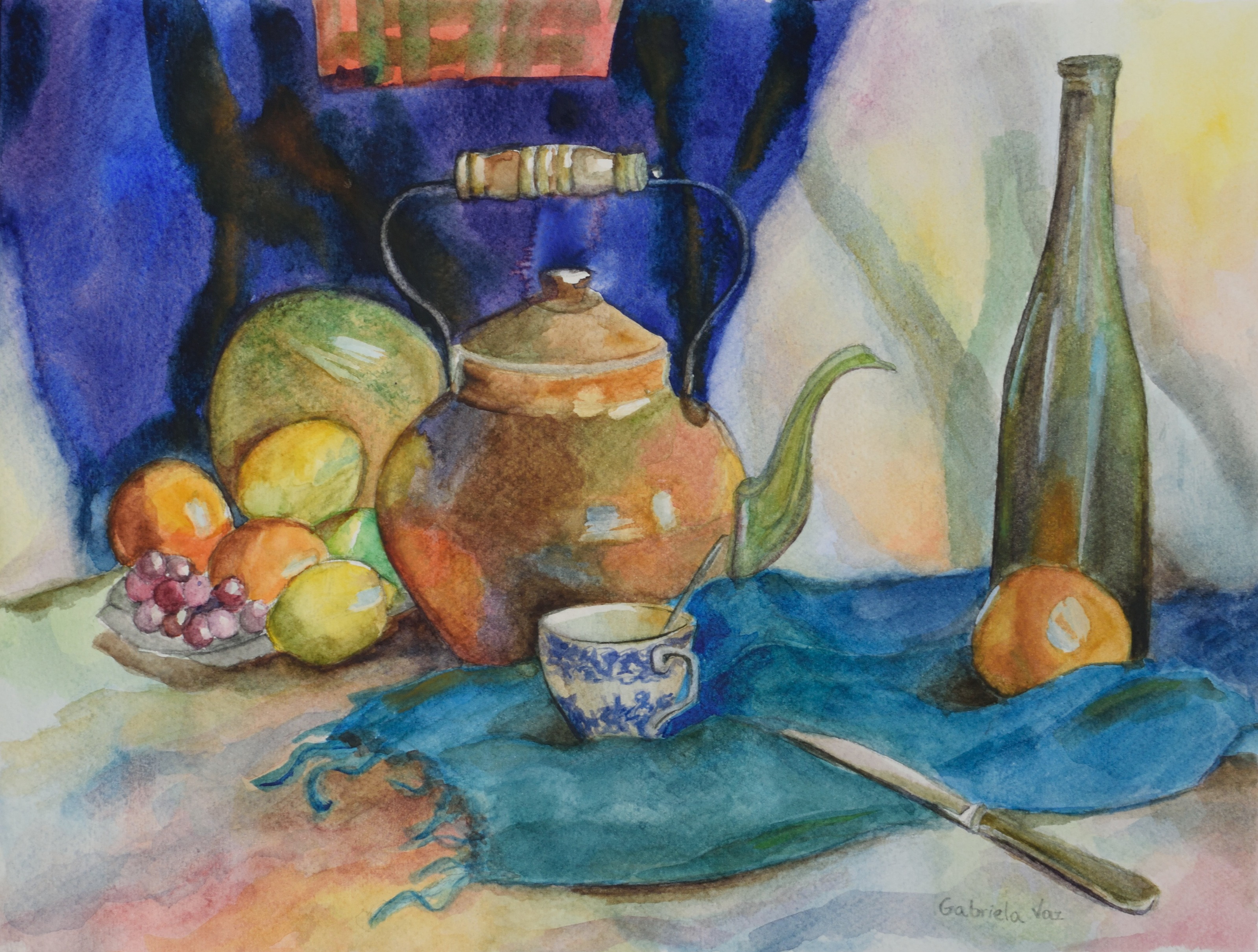 Tea, wine and fruit, watercolor on paper, 20 x 30 cm, 2017