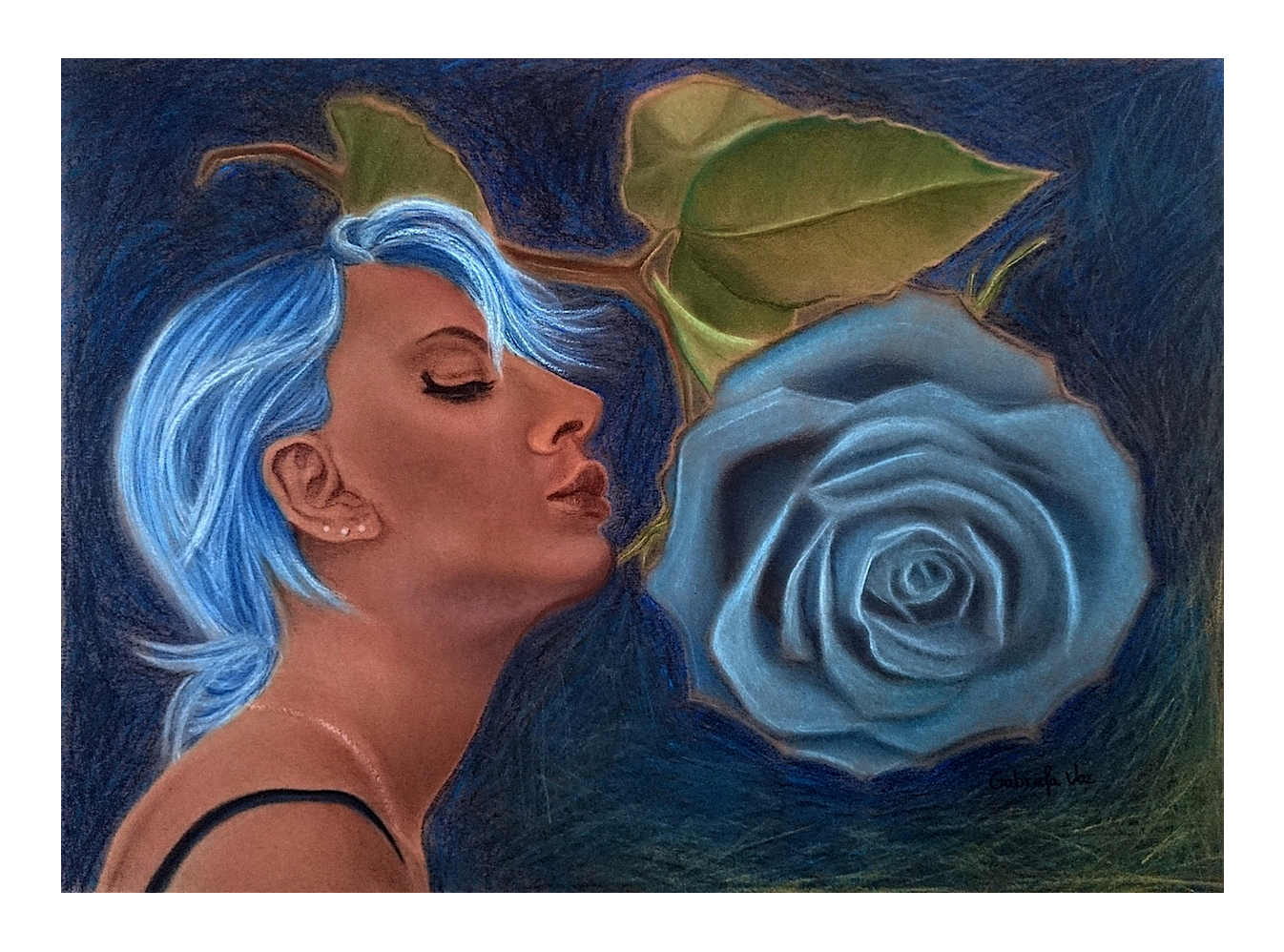 Azul, soft pastel on toned paper, 50 x 60 cm, 2016