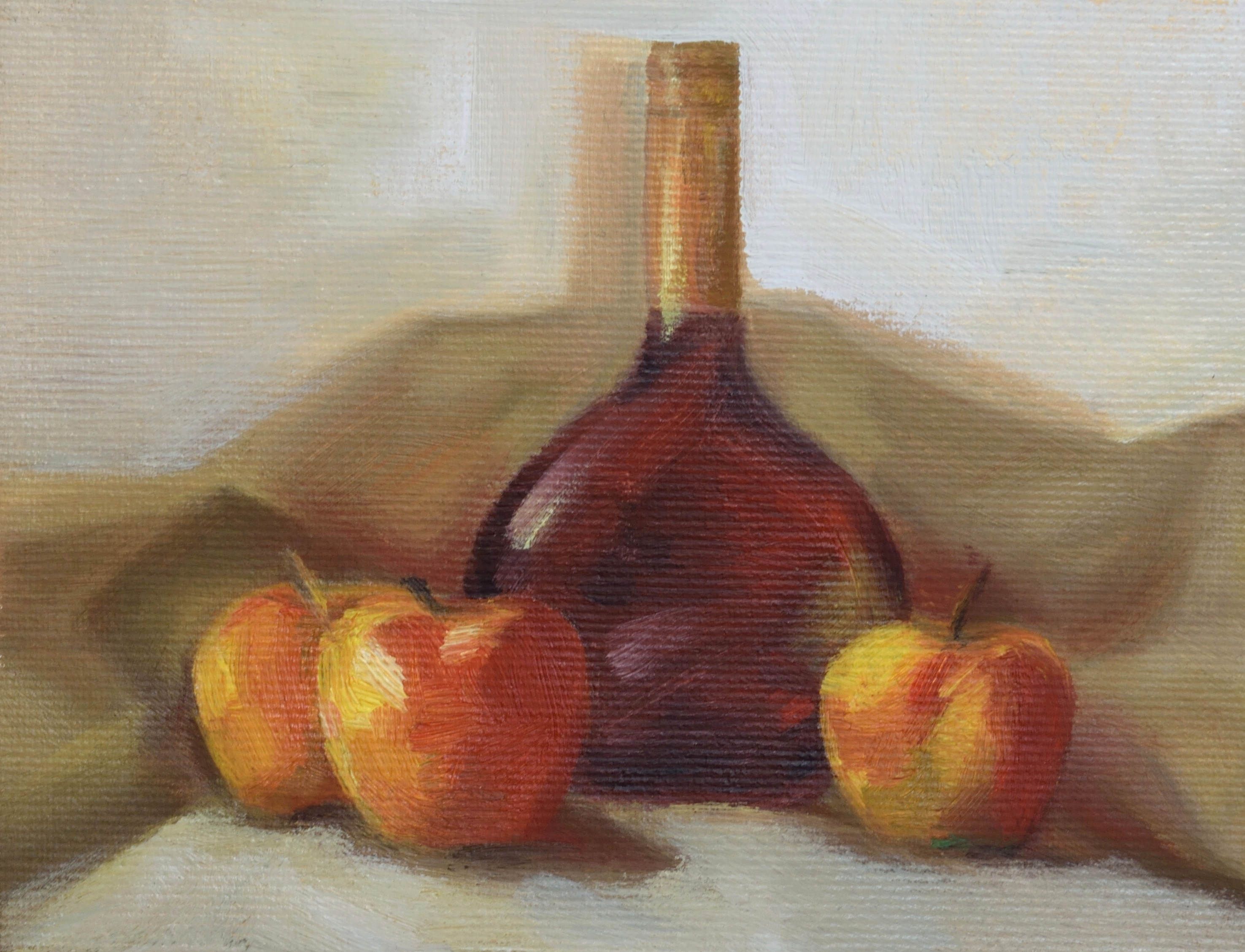 Apples and wine, oil on canvas, 20 x 30 cm, 2017