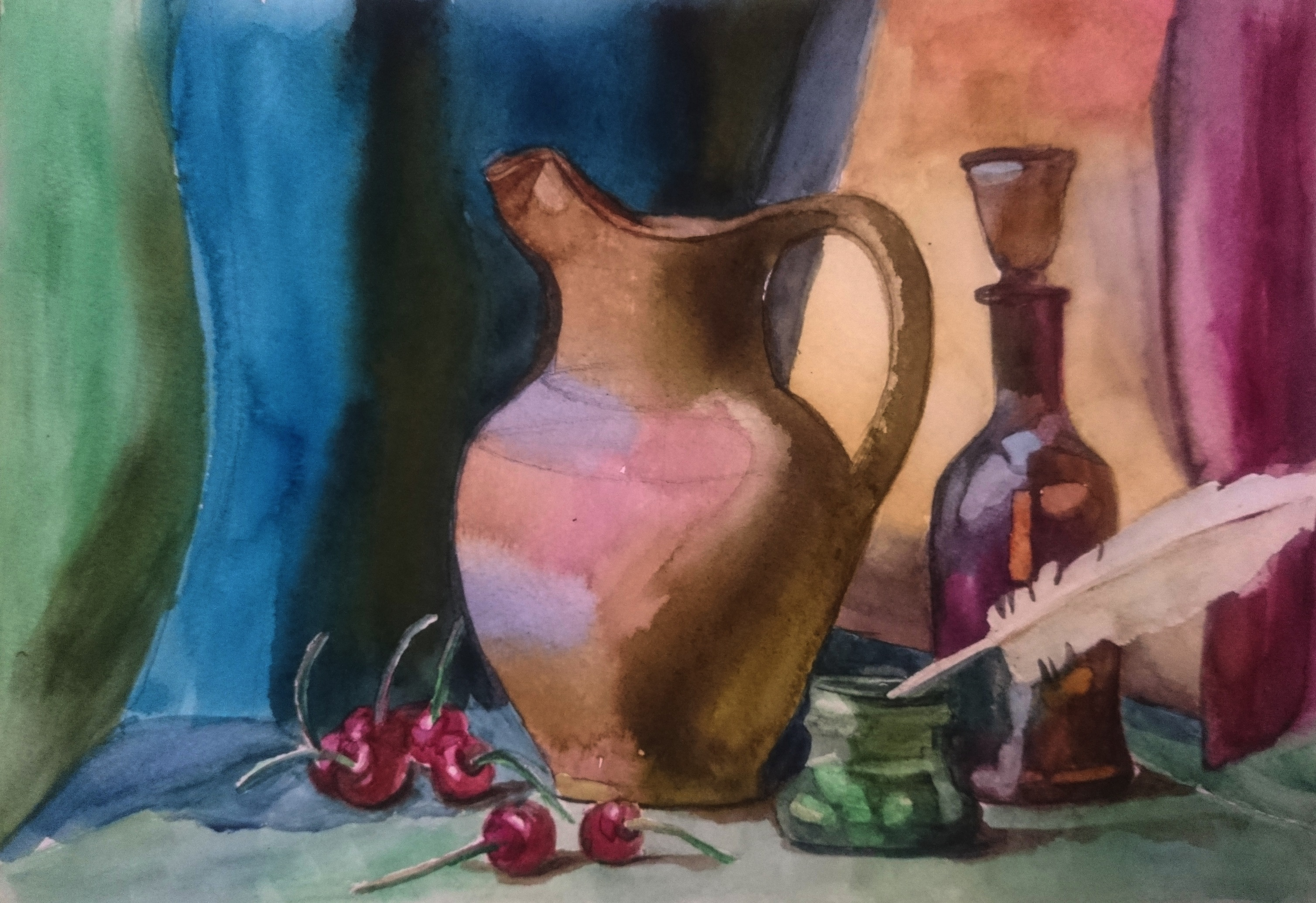 Jug, feather and cherries