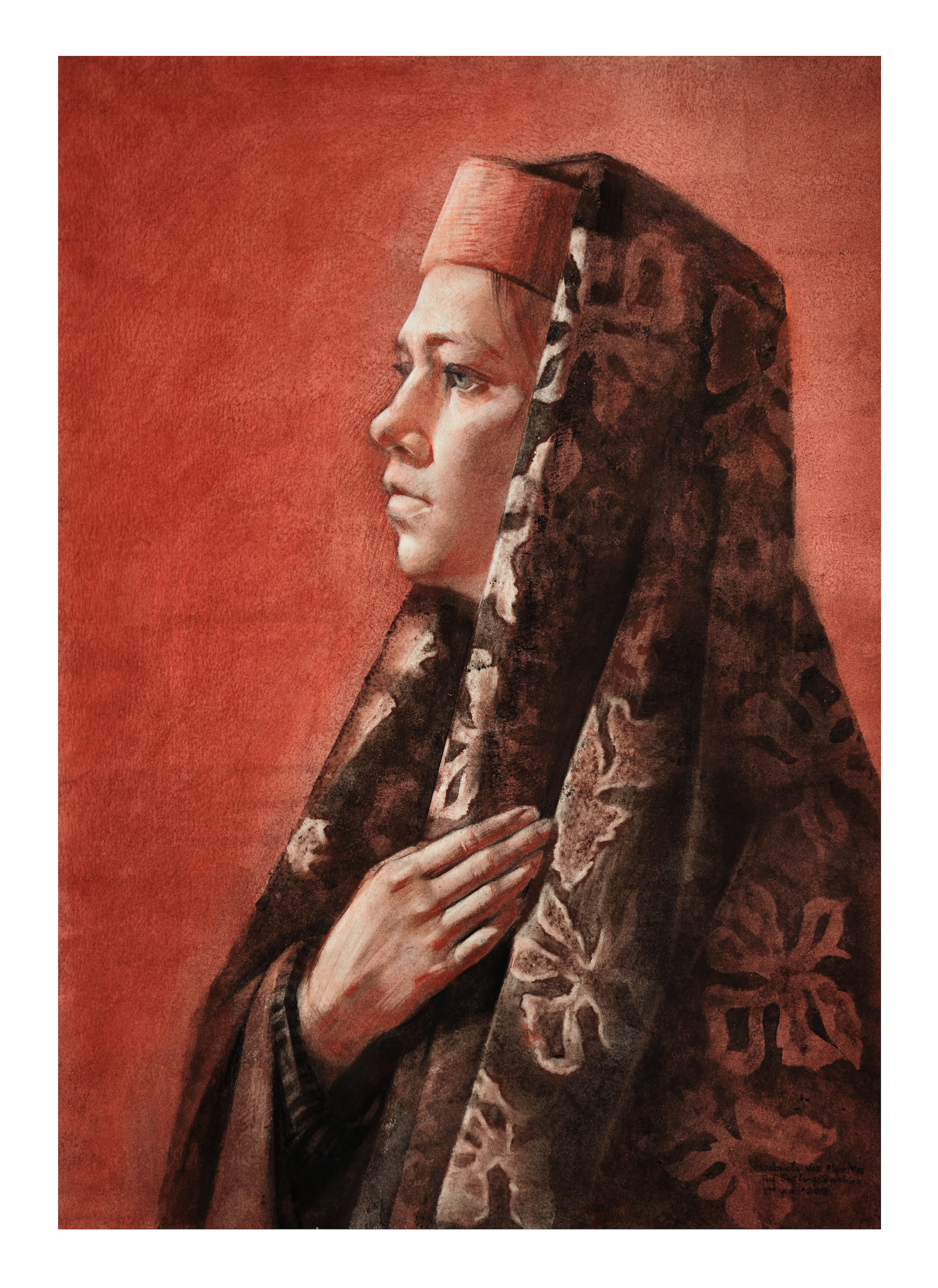 The orthodox russian girl, charcoal and soft pastel on toned paper, 70 x 50 cm, 2018