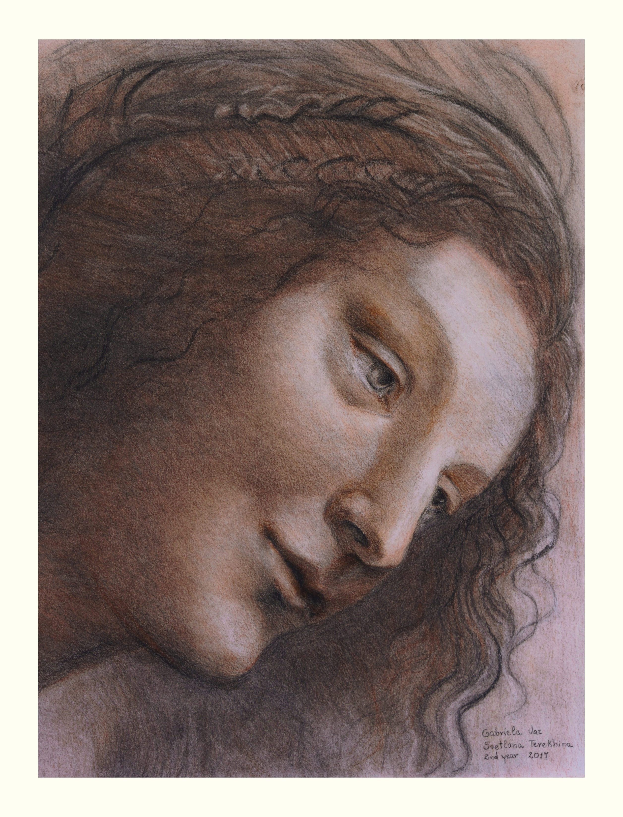 Copy based on the drawing Head of the Virgin (1510-1513) by Leonardo da Vinci, soft pastel on toned paper, 40 x 30 cm, 2017