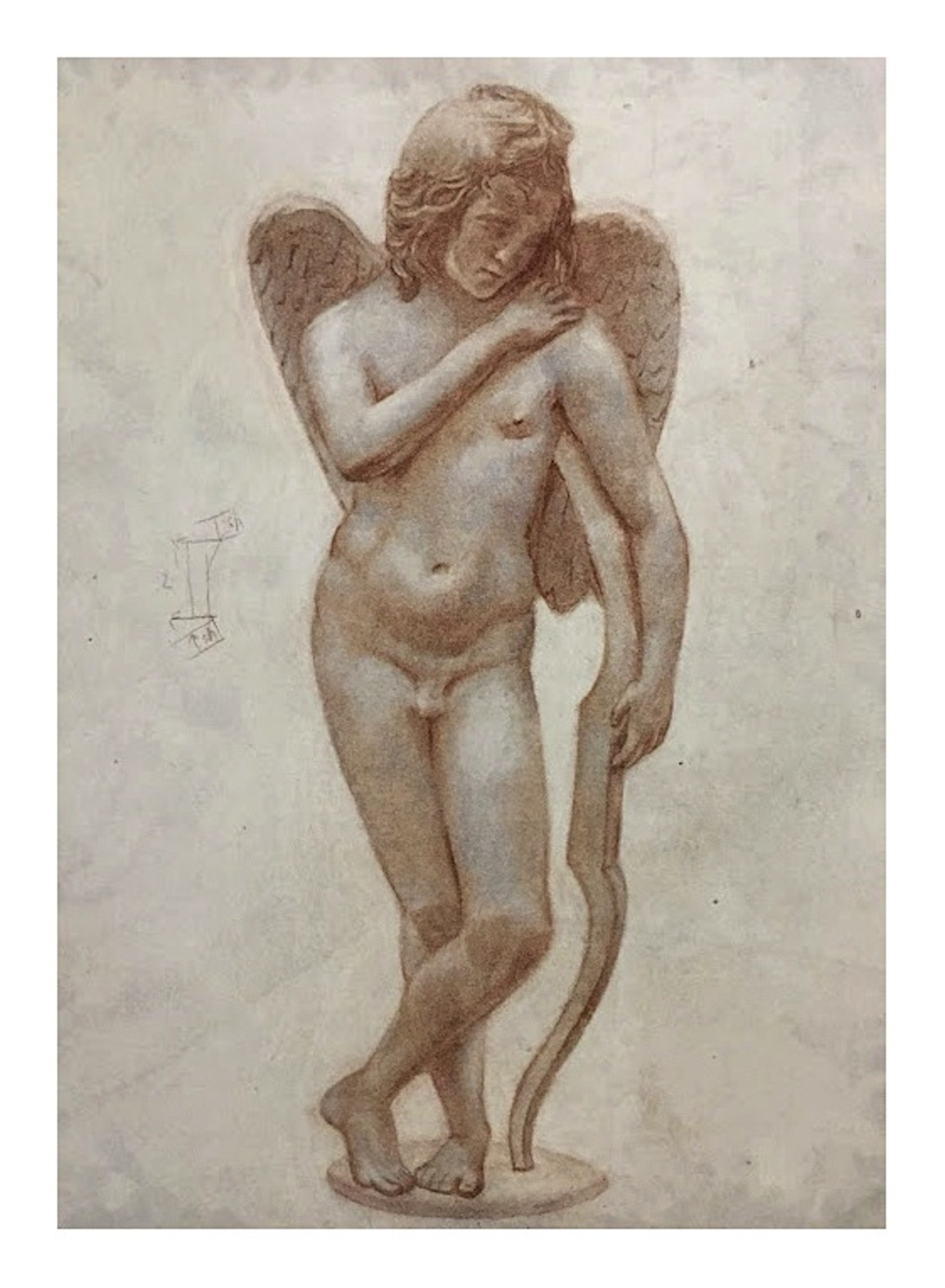 Copy based on the sculpture Cupido con l'arco (Roman art reinterpreted by Innocenzo Spinazzi, 1726-1798), soft pastel on toned paper, 40 x 30 cm, 2018