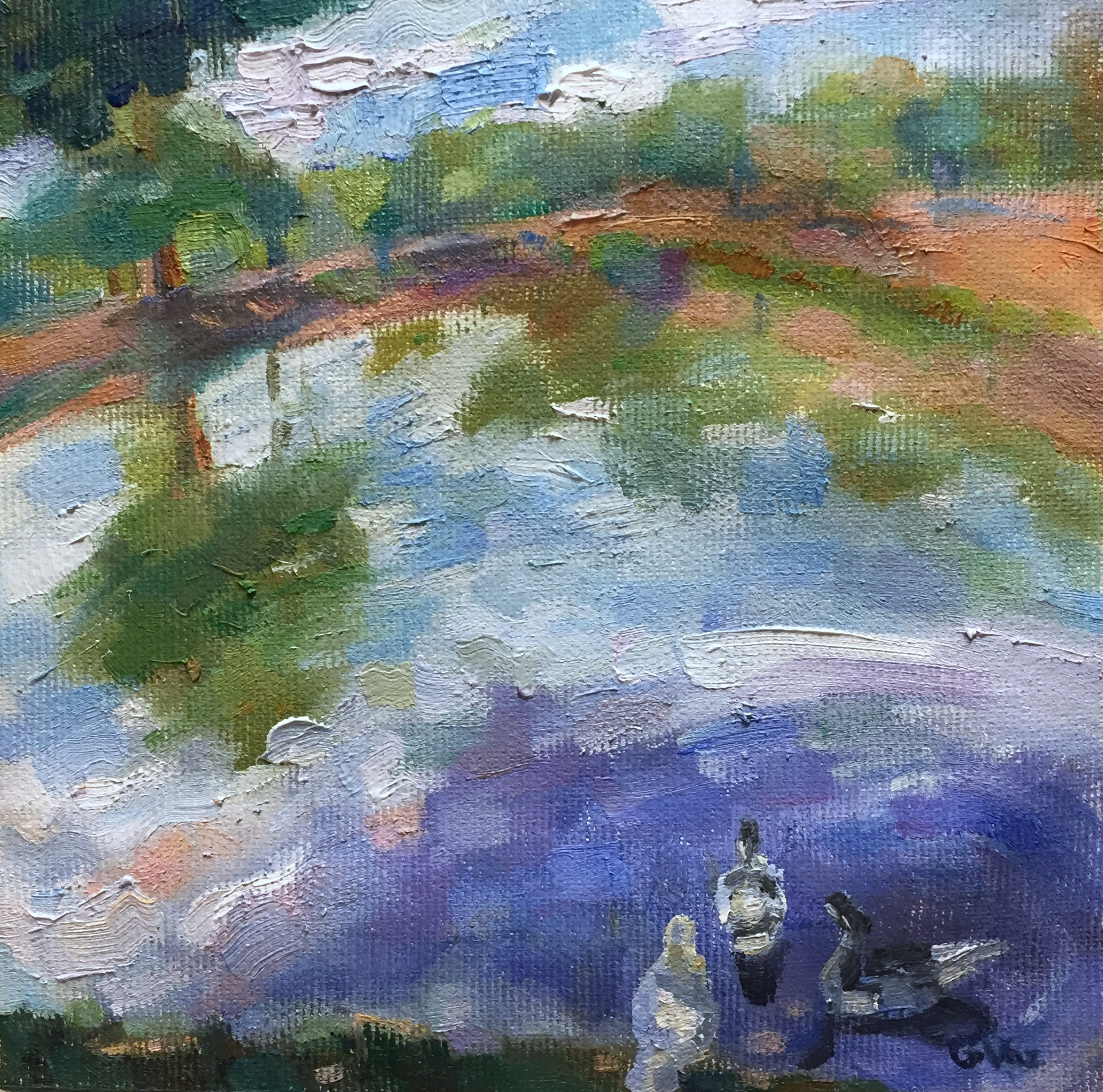 Sombra na lagoa, oil on canvas, 15 x 15 cm, 2018