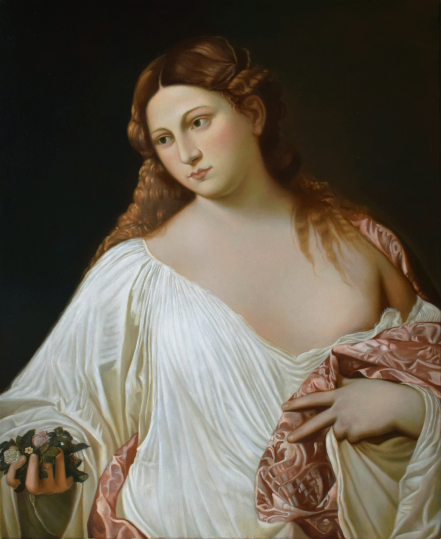 Copy of the painting Flora (1515-1517) by Tiziano Vecellio, oil on canvas, 80 x 64 cm, 2019