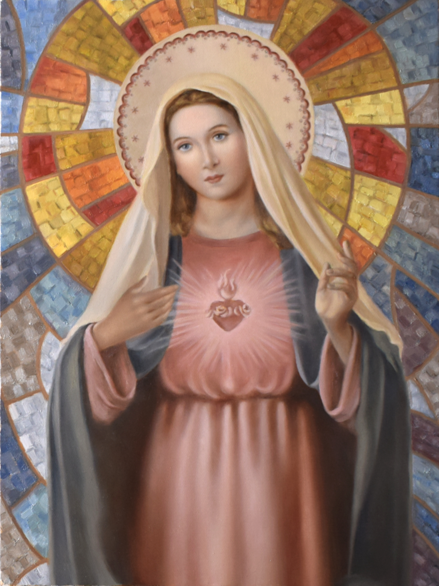 Version of a religious icon by unknown author, Imaculado Coração de Maria II, oil on canvas, 40 x 30 cm, 2020