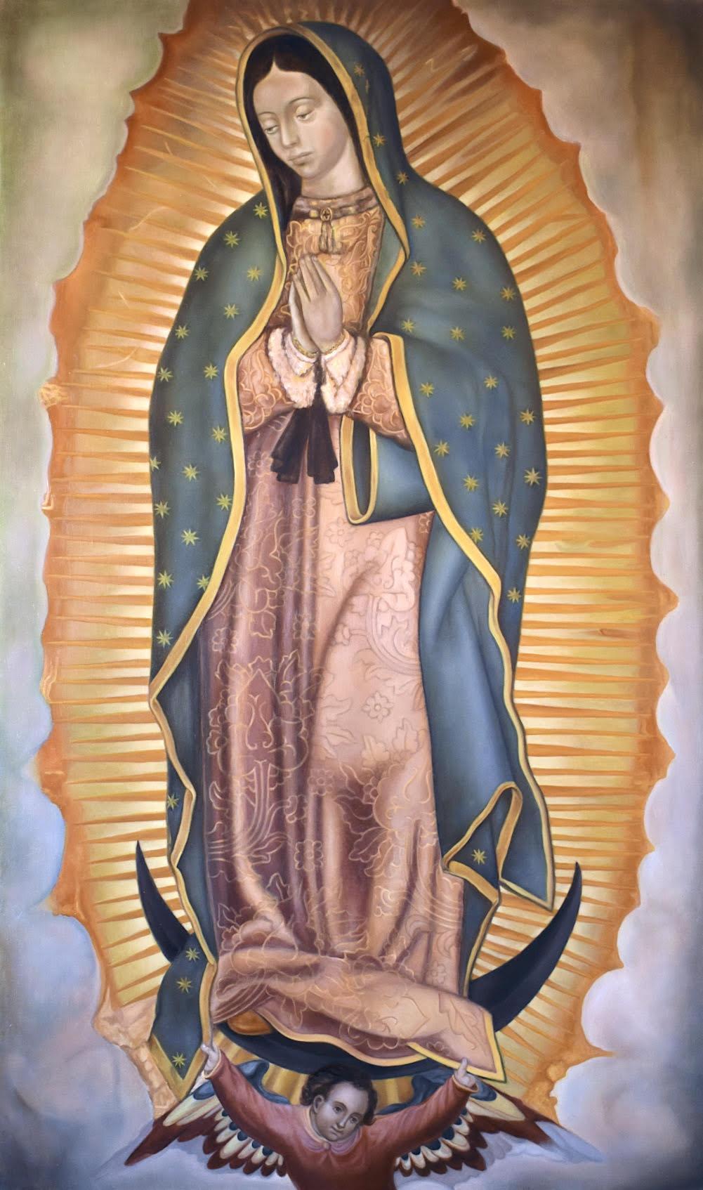 Copy of the image from the Basílica de Santa María de Guadalupe (1531), Nossa Senhora de Guadalupe, oil on canvas, 100 x 60 cm, 2020