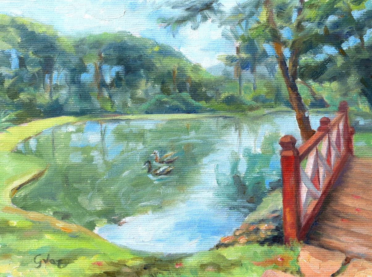Lago dos Pireneus, oil on canvas, 15 x 20 cm, 2020